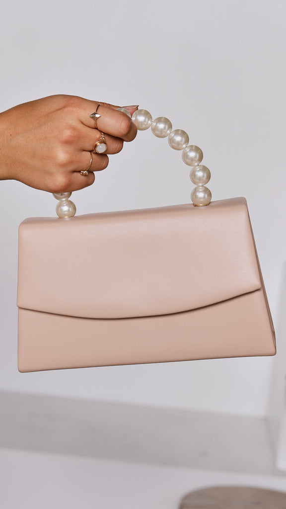 Pearl Handle Foldover Bag - Nude