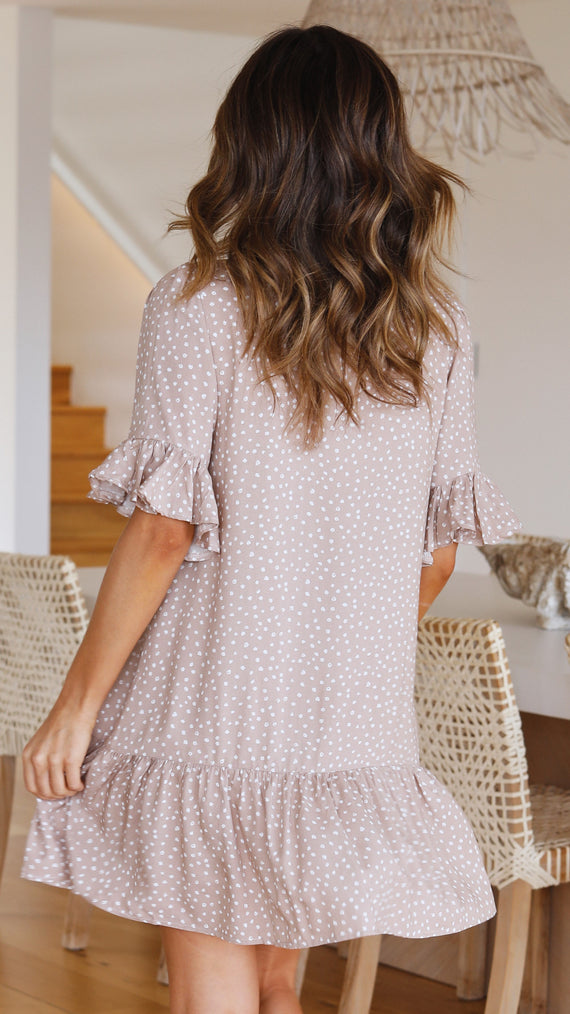 CAMRYN DRESS - BEIGE SPOT