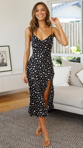 Altona Dress - Black/Beige Spots