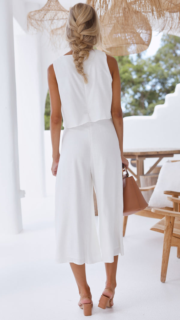 Lazy Daze Culotte Jumpsuit - Cream