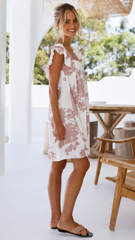 Juana Mini Dress - Blush Floral