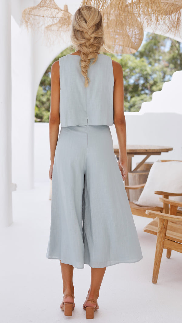 Lazy Daze Culotte Jumpsuit - Blue