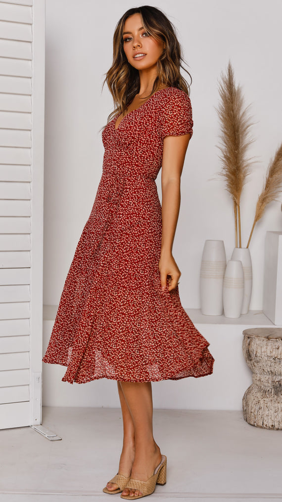 Aster Midi Dress - Red Floral