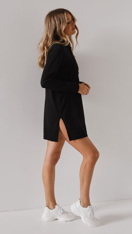 Abby Hoodie Dress - Black