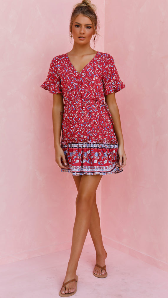Brielle Dress - Red Floral