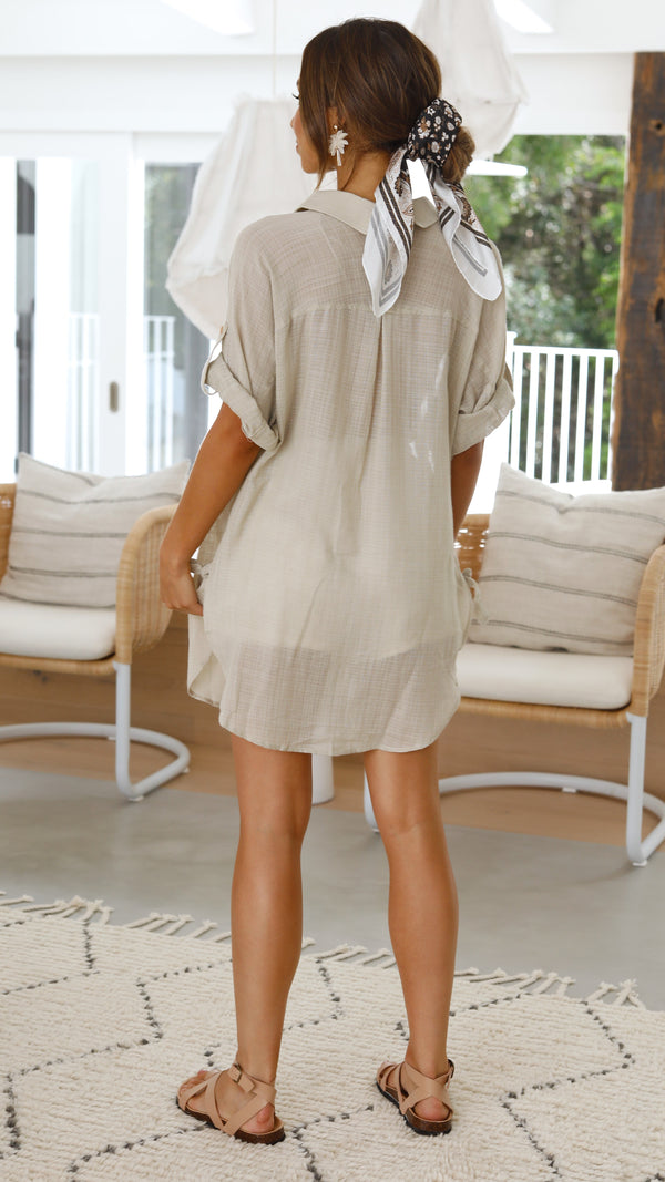 Aubree Shirt Dress - Beige