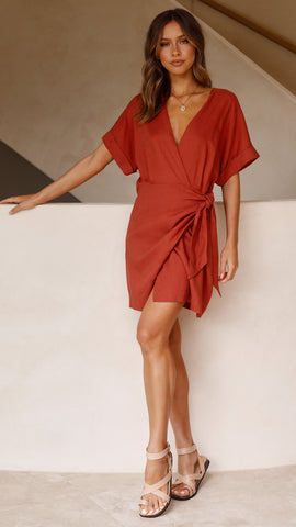 Jamie Wrap Dress - Rust