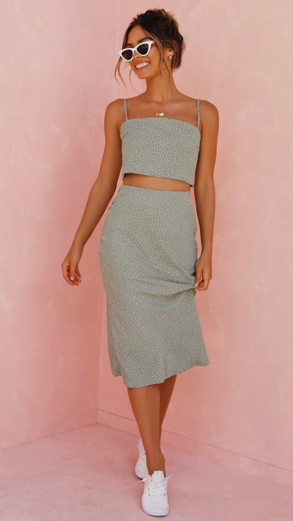 Lottie Crop Top - Sage/White Dots