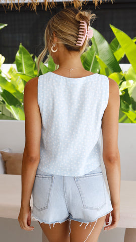 Alexa Crop Top - Blue Polka Dot