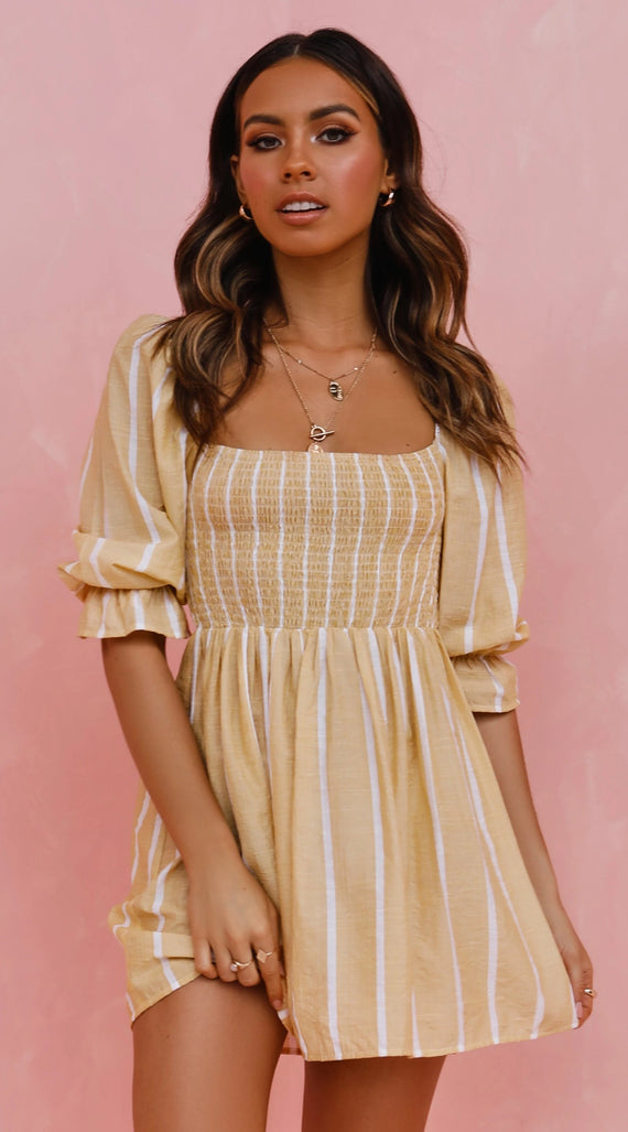 Lia Dress - Yellow/White Stripe