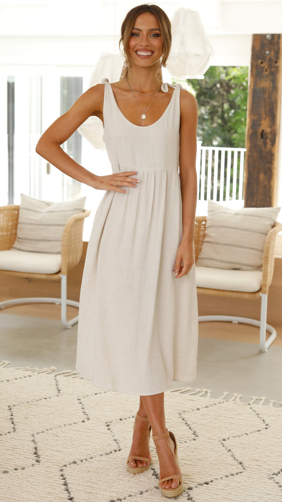 Mykonos Midi Dress - Natural