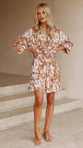 Gardinia Mini Dress - Chocolate Floral