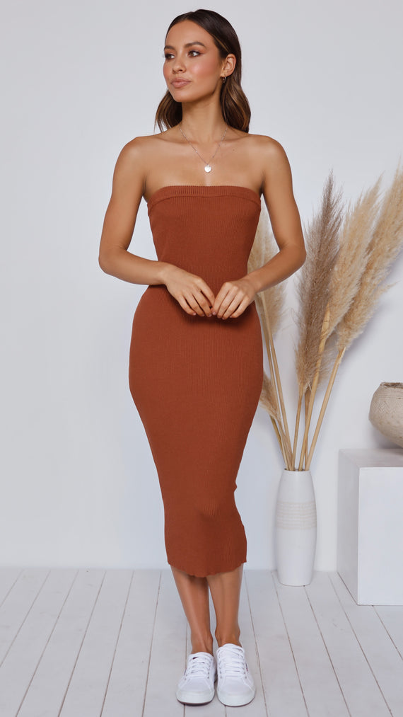 Keely Strapless Dress - Rust
