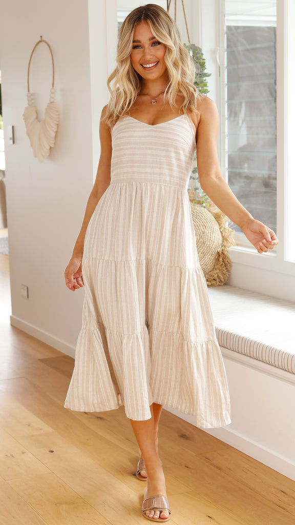 Zelda Maxi Dress - Beige Stripe