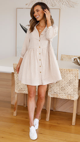 Palmyra Dress - Beige Gingham