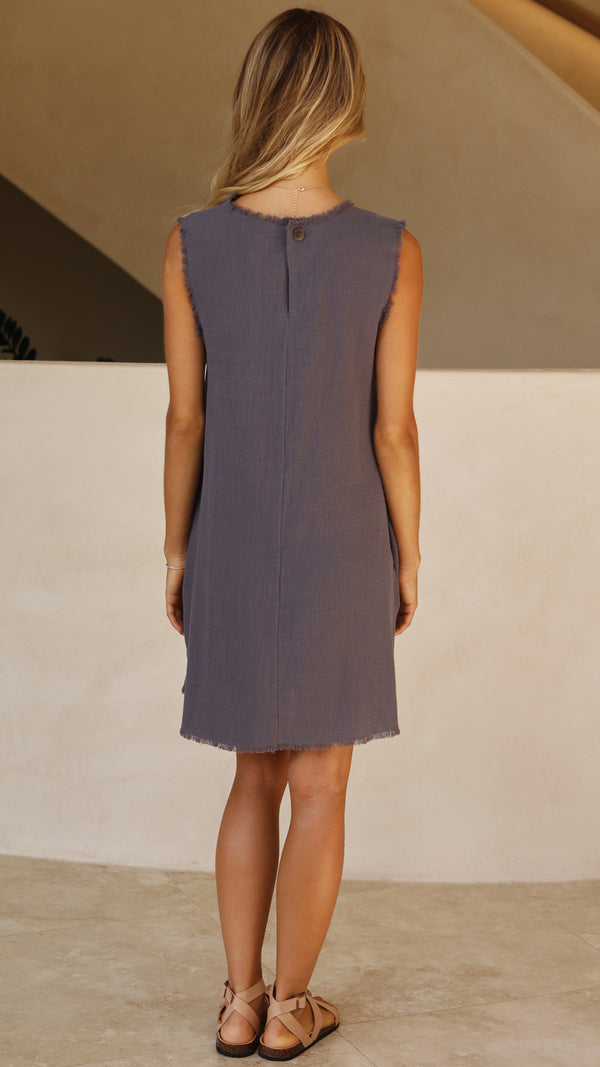 Nuala Dress - Steel Blue