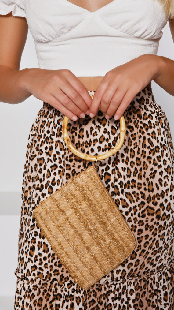 Bamboo Ring Raffia Stripe Weave Pouch - Mocha/Natural