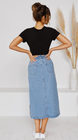 Gloria Crop Tee - Black