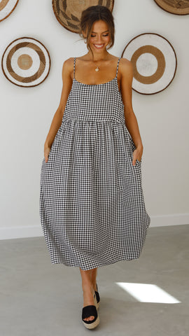 Whitney Dress - Black Gingham
