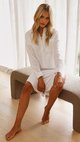 Bella Shirt Dress - White