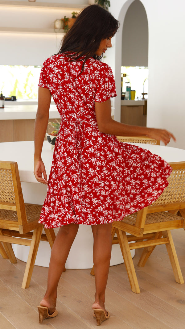 Vella Dress - Red Floral