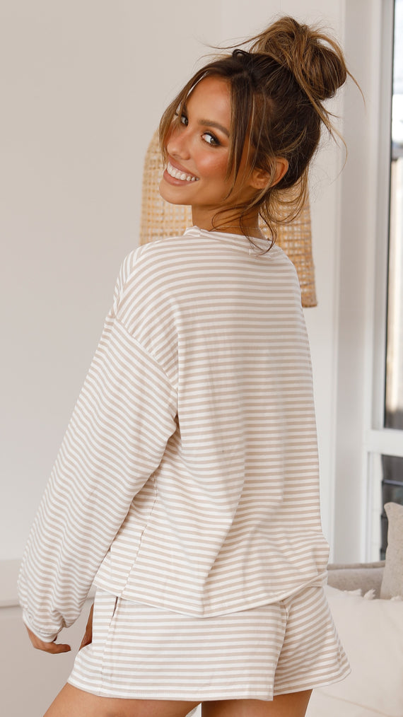 Constance Top - White/Natural Stripe