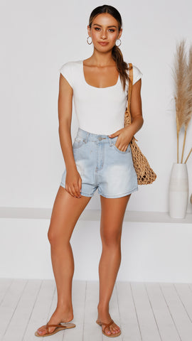 Allura Denim Shorts - Faded Light Blue Wash