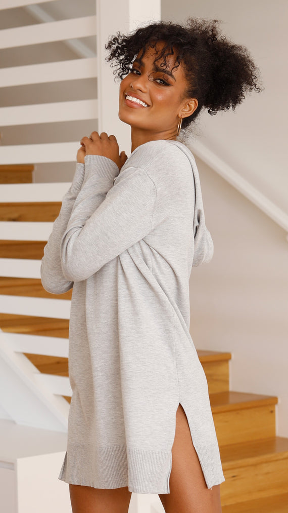 Abby Hoodie Dress - Grey