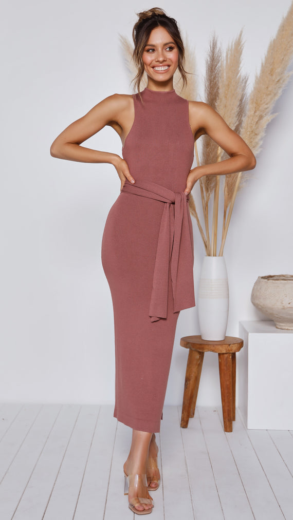 Ariella Midi Dress - Mauve