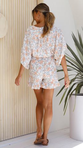 Cloe Playsuit - Orange/Green Floral