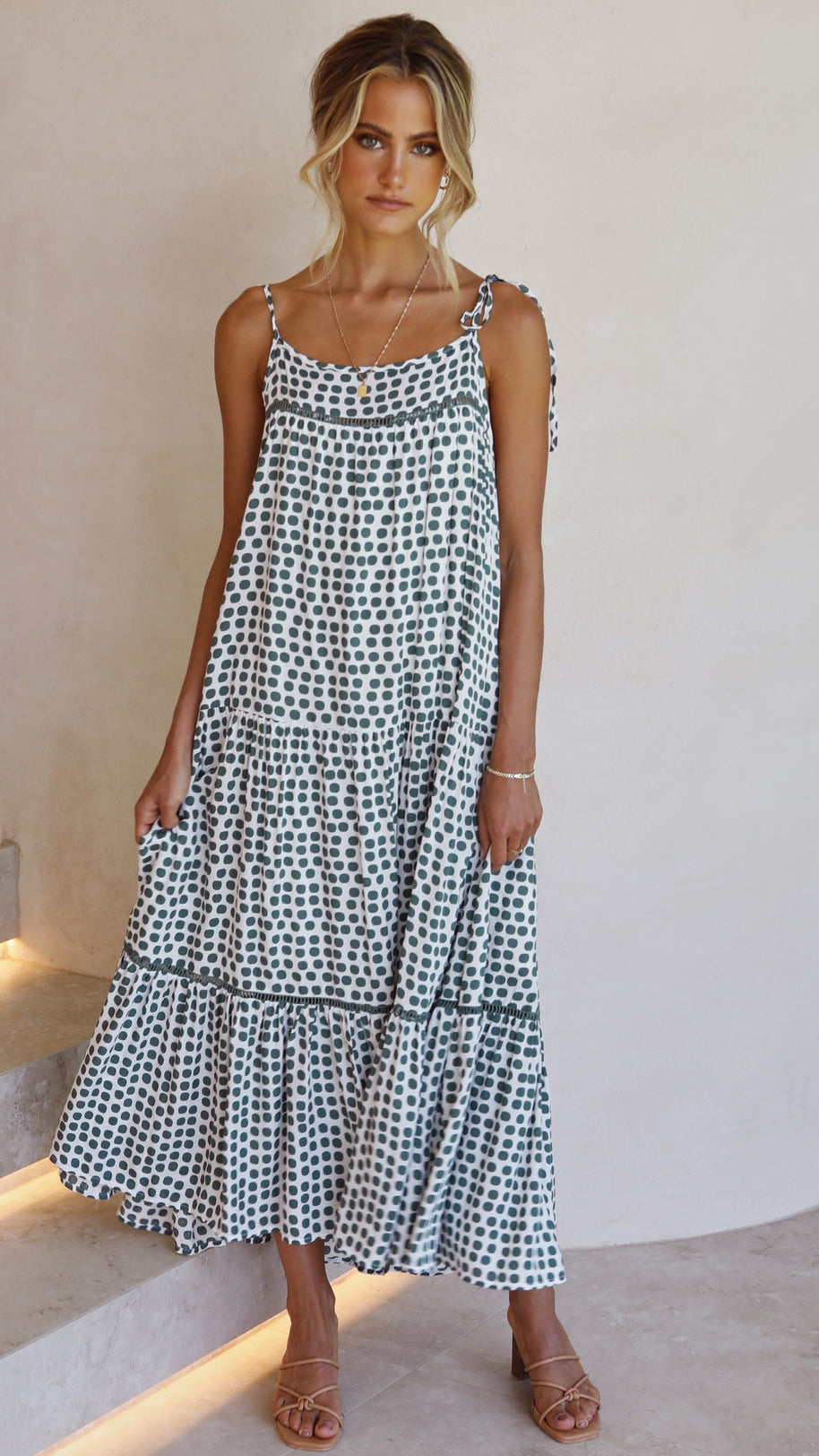 Journi Polka Dress - White/Green