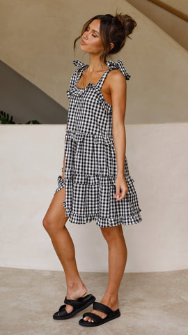 Jennavive Dress - Black Gingham