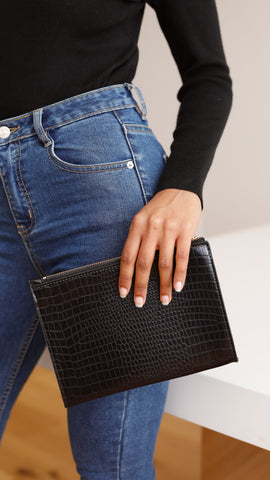 Chrissy Clutch - Black Croc