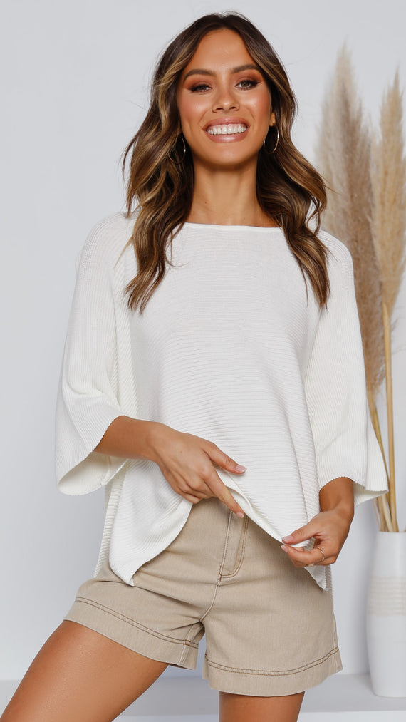 Calista Knit Top - White
