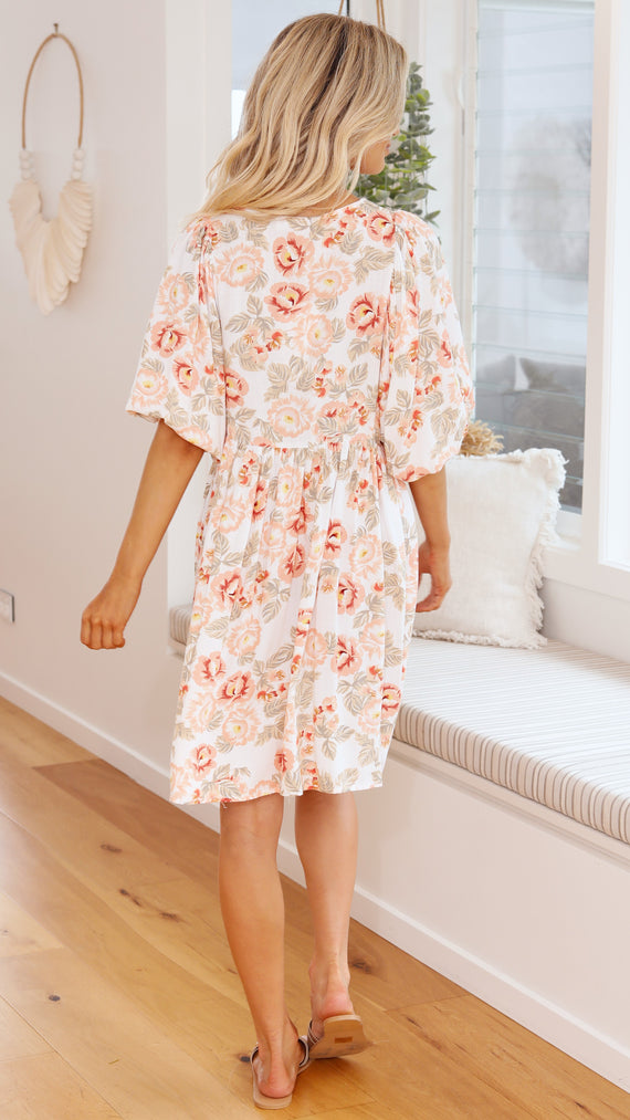 Adele Dress - Peach Hibiscus