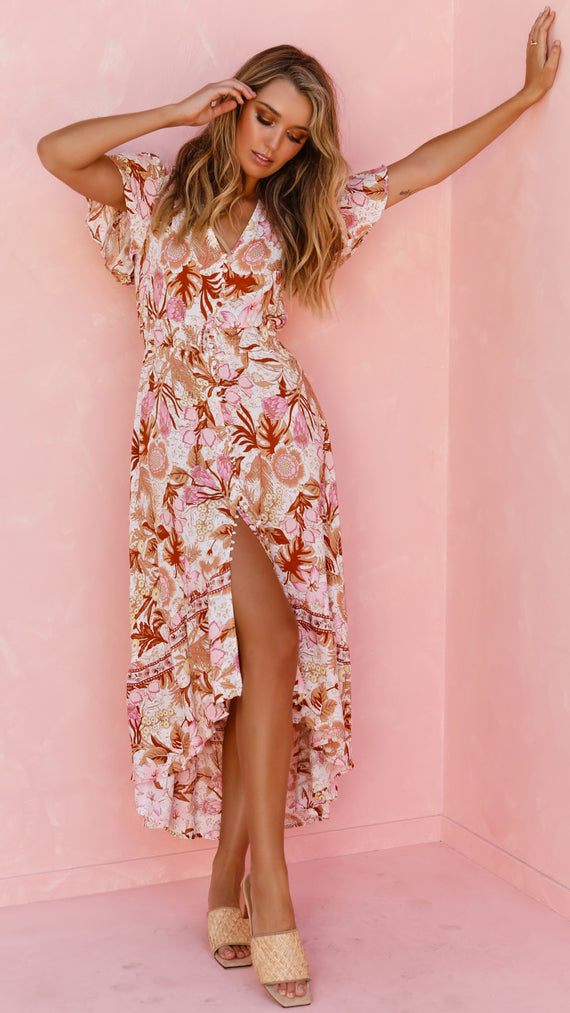 Clementine Maxi Dress - Pink Floral