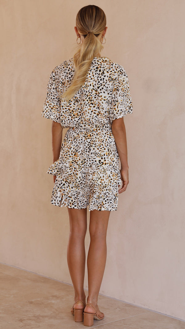 Montes Dress - Yellow Leopard Print
