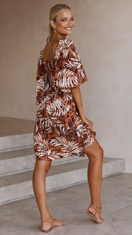 Jacinta Mini Dress - Brown Leaf Print