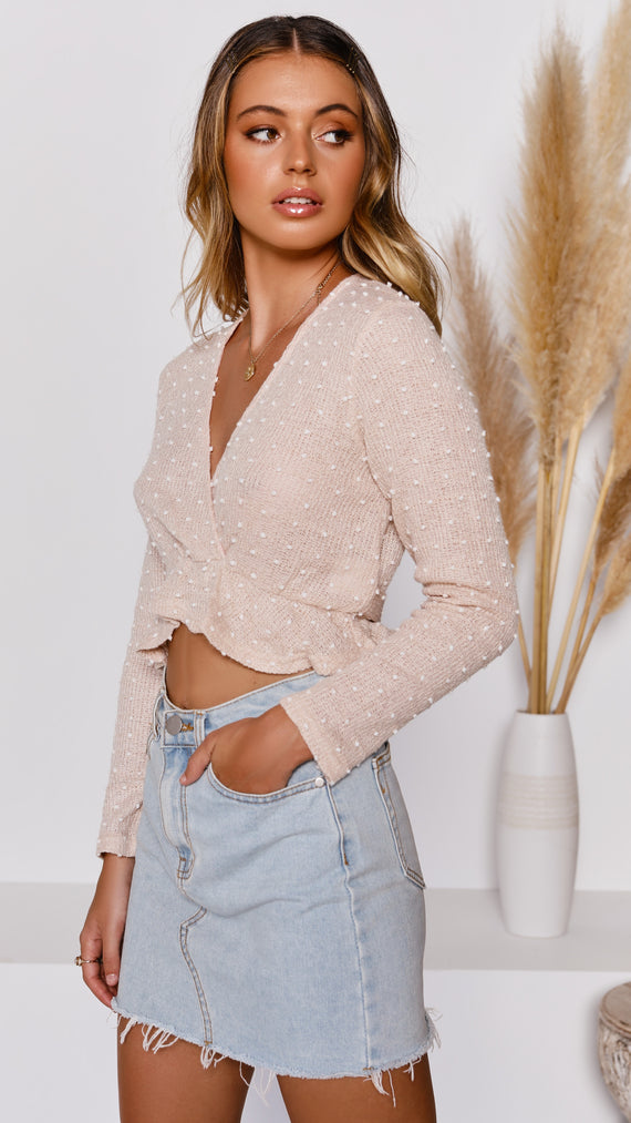 Skylee Knit Top - Light Peach