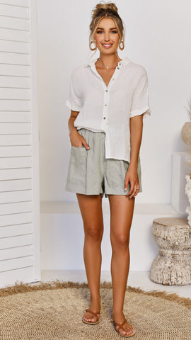 Weekender Button Up - White Linen