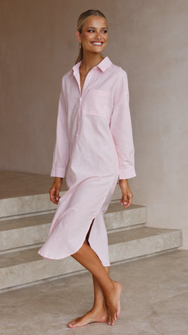 Bella Shirt Dress - Baby Pink