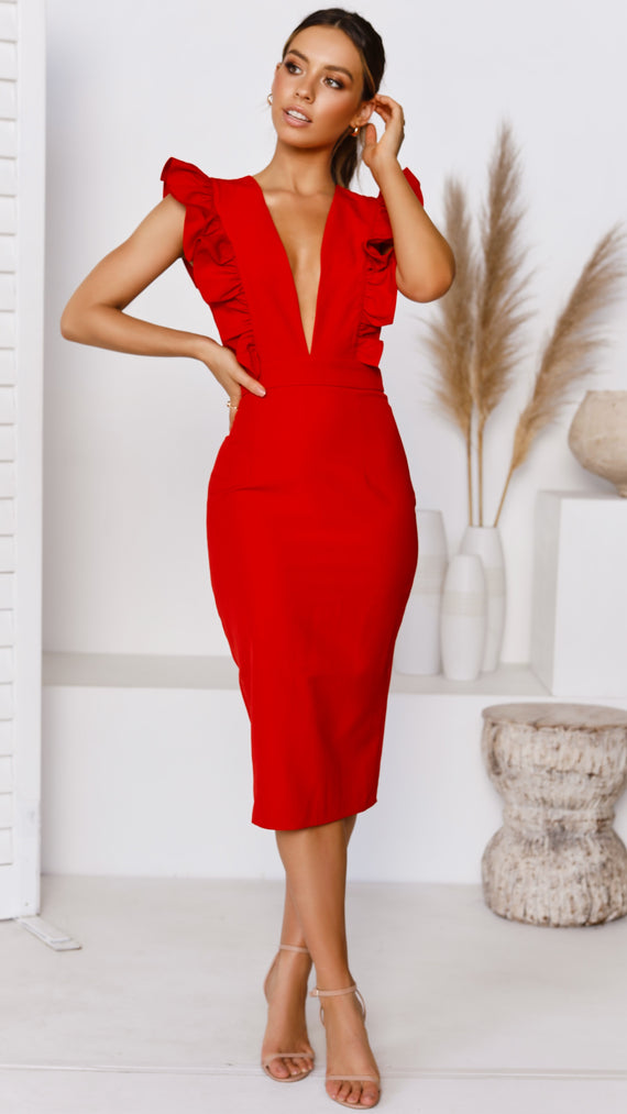 Evia Frill Plunge Midi Dress - Red