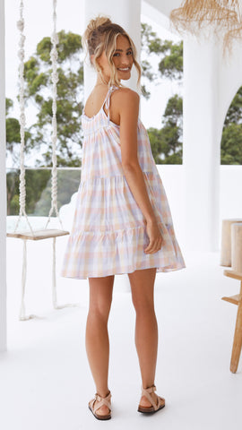 Carrie Mini Dress - Pastel Gingham