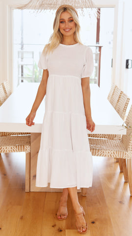Melody Midi Dress - White