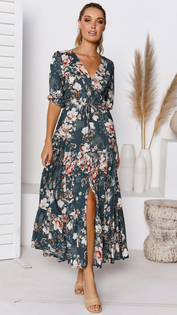 Jordyn Maxi Dress - Green Floral
