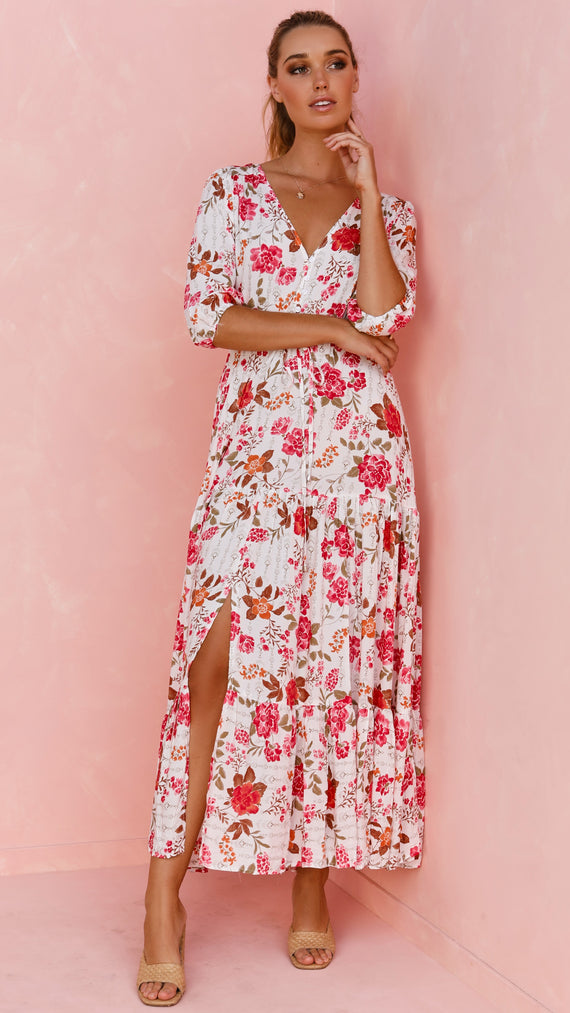 Rosemary Dress - White/Pink Floral
