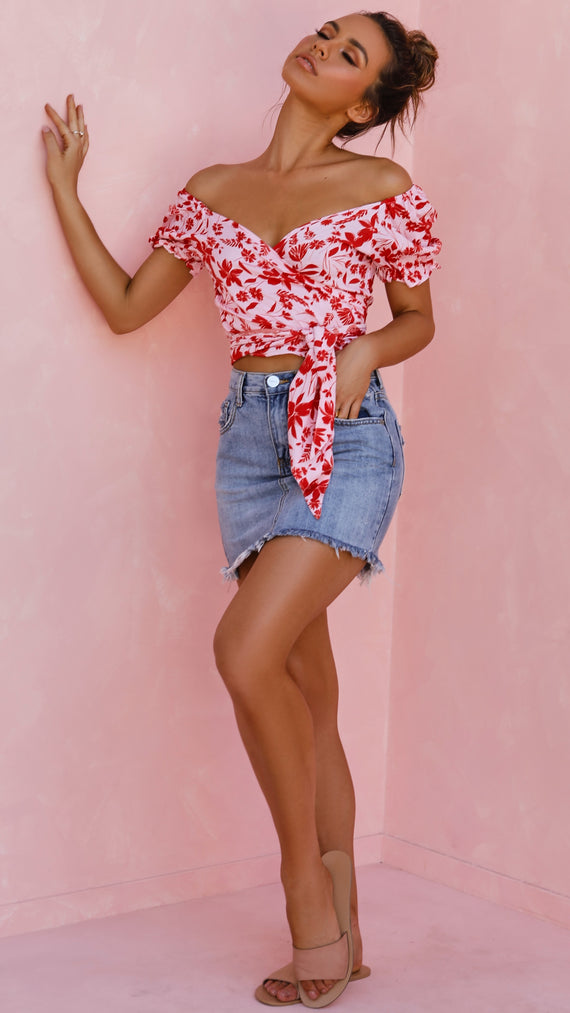 Acacia Wrap Top - Red/Pink Floral