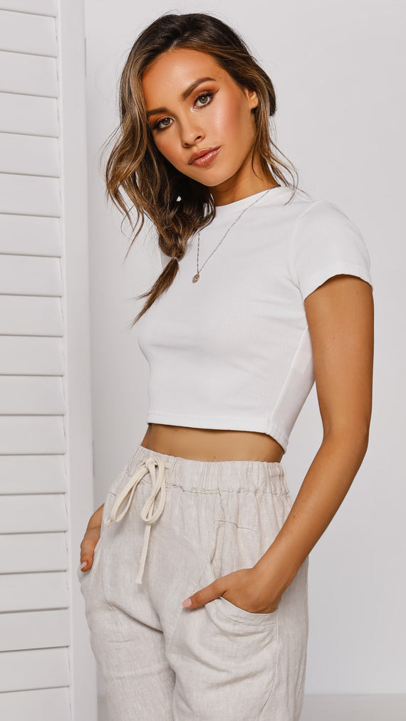 Canyon Drive Crop Top - White