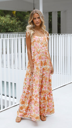 Audrey Maxi Dress - Orange Floral