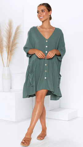 Montego Dress - Forest Green